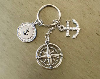 Nautical ocean keychain with compass rose and anchor charms
