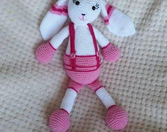 Pink Bunny know Amigurumi crochet baby gift crochet pattern