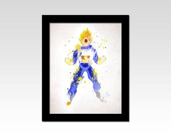 Dragon Ball Z inspired Vegeta watercolour effect print