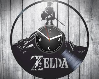 Zelda Vinyl Record Wall Clock, Home Decor, Nursery Decor, Valentines Day Gift, Gift For Kids, Wall Art, Pop Game, Gift For Gamer