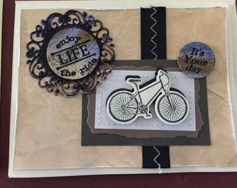 Bicycle theme card, adventurer, multi-layered, hand painted die cut elements, masculine colors, card for him, birthday, encouragement