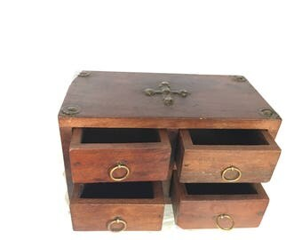 4 Drawer box With Iron Fittings  - 20x10x12.5 . solid wooden