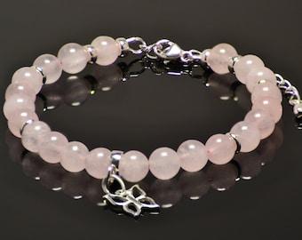 rose quartz bracelet, pink bracelet, sterling silver 925 bracelet, butterfly charm