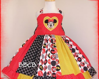 Girls Minnie Red Dots Dress - ready to ship -- fits 3 3T 2/3 - Birthday Party - Princess - Cruise - Pageant - Twirl
