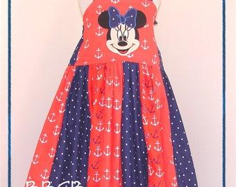 Girls -- Sailing Mouse Anchor Dress -- Nautical Beach Sea - sz apprx 5T 5/6 -- Patriotic - Cruise Dress - USA Beach Babe