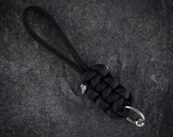 Black Paracord Zip Pull - Lanyard With Body Jewellery Ball Closure Ring