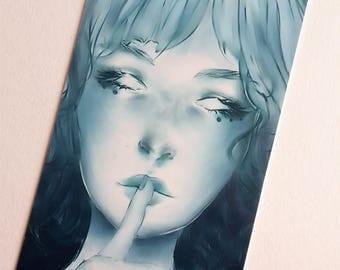 Blue Girl Doublesided Bookmark