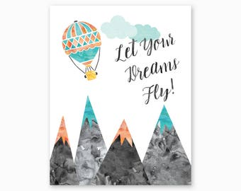 MOUNTAIN NURSERY ART, Mountain Nursery Printable, Dream Nursery Art, Adventure Nursery, Nursery Quote, Hot Air Balloon, Instant Download