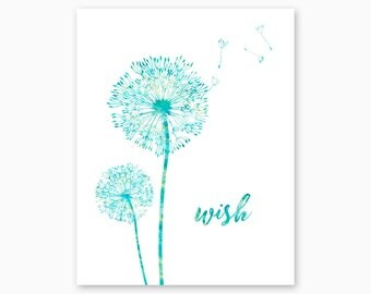 DANDELION WISHES, Dandelion, Dandelion Wall Art, Nature Lover, Dandelion Digital Art, Boy Nursery, Girl Nursery, Printable, Instant Download