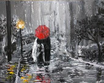 Romantic couple art - rainy night romance art - couple kissing - couple in rain - dancing in rain- landscape with lights - honeymoon gift
