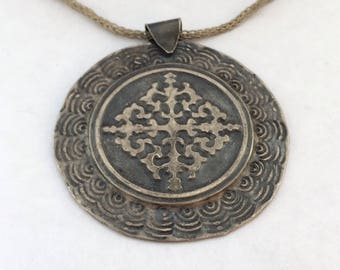 925 Silver Handmade Relief Work Authentic Pendal With Handmade Silver Cord and Clips