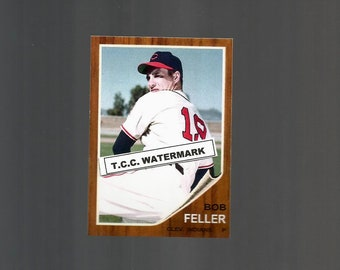 Bob Feller Cleveland Indians  New,  Custom Made 1962 Style Baseball Card. Mint Condition.