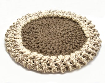 Pet Mat Pad Tan Cocoa Brown 22-Inch Round Cat Bed Dog Bed Furniture Cover