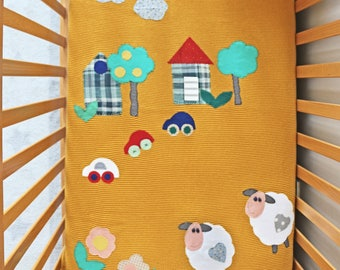 Knitted baby blanket, toddler blanket, designed with fabric appliques, for crib and nursery bed, excellent for baby shower, baby gift