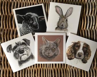 Cards, greeting cards, animal cards, dog cards, spaniel cards, schnauzer cards, cat cards, sheep card, rabbit card, hand drawn card, art