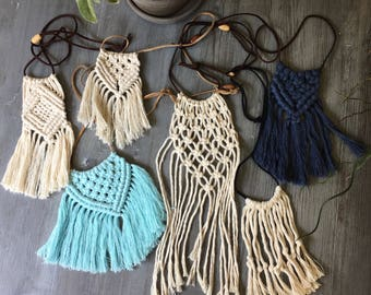 Cotton and Leather Macrame Neclaces