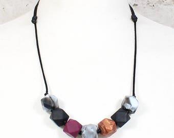 Penelope Malbec Geo Beads Silicone Teething Necklace