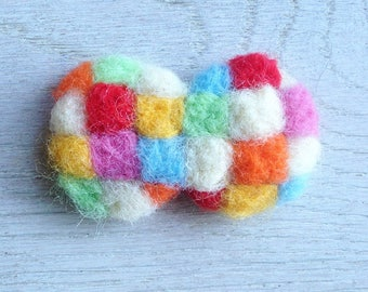 Rainbow felt blooch/rainbow pin /colorful/bright/butterfly/ribbons/cute/needleart/child present/safe wool/