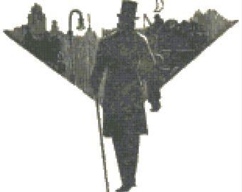 Film Noir Style Silhouette Cross Stitch Pattern