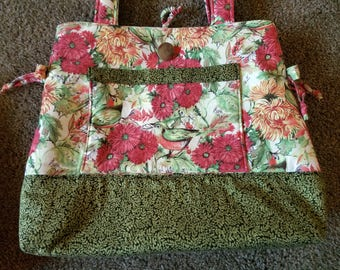 Flower and Bird Purse  in Greens and Peach colors