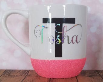 Pink glitter dipped mug with holographic name