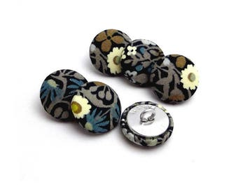 "5 buttons covered with liberty ""Fitzgerald"" size and color OPTION, buttons are made in France"