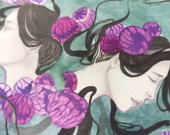 Original illustration drawing of Twins watercolor & graphite artwork wall deco