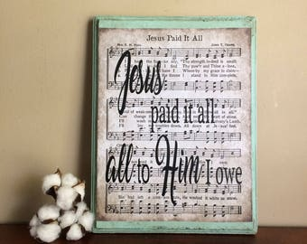 Hymn Sheet On Wood   Jesus Paid It All Wood Sign   Hymn Sheet Music Wall Part 92