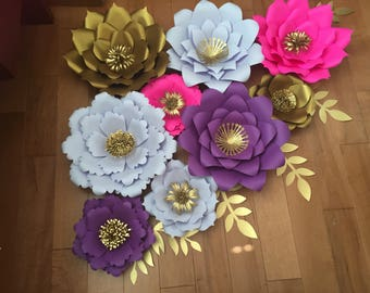 9 Pcs. Paper flowers with leaves.
