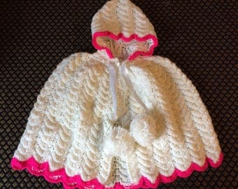 Hand Knitted Baby Girl Poncho