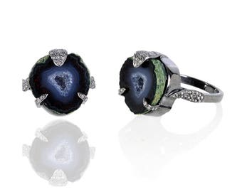 Diamond Ring with Baby Geode