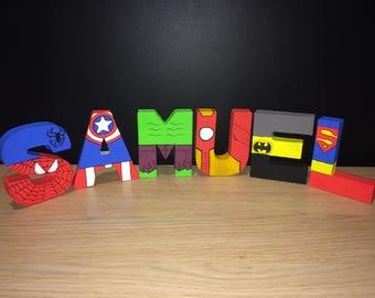 Avengers/Marvel Superhero Hand Painted Letters - Spiderman, Hulk, Superman, Captain America, Ironman, Batman. Initial, Name