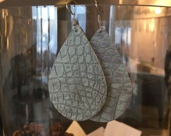 Gray snakeskin leather earrings
