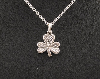 Sterling Silver Shamrock Pendant with chain Irish jewelry Lucky Charm Shamrock Necklace