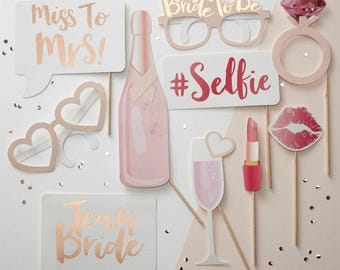 Team Bride Hen Party Bachelorette Party Selfie Props, Photo Booth, Photo Props Pink, Hen Do