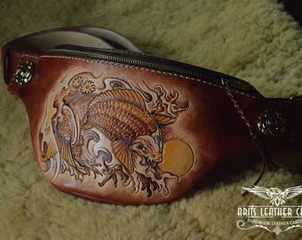 Handmade belt bag , Hip bag, Carving bag, Handicraft, Handmade in Thailand