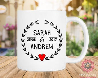 Personalized (Name) and (Name) With Date Mug, Anniversary Gift, Gift for Him, Gift For Her