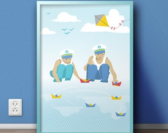 Boys with boats illustration Prints, Boys with boats kids room decor