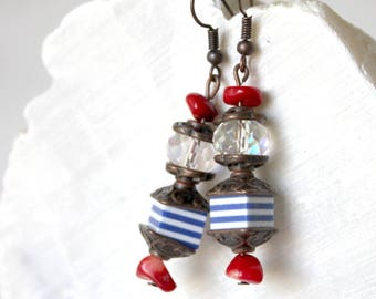 Blue cubes and Red coral chips earrings