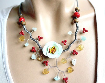Red and blue lime fashion necklace