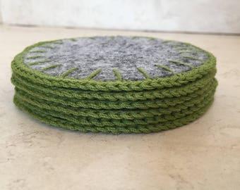 Crochet felt coasters
