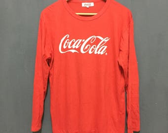 Rare!! Vintage!! Coca-Cola long sleeve Big Logo!! Spell out!! Streetwear!! Street fashion!! Dope!! DressArt!! 90's Style!!