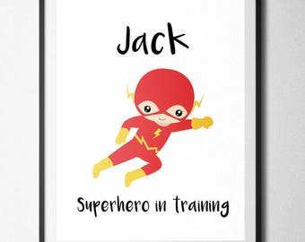 Boys Name Print, Flash, Personalised, Kids bedroom, Home Print, A4 or A5, Quality Paper