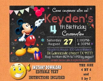 Mickey Mouse invitation,Mickey Mouse ,Mickey Mouse birthday,Mickey Mouse invites,PDF editable invitation,Mickey Mouse party,invites