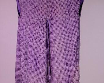 Silk tie dye shibori vintage vest purple handmade