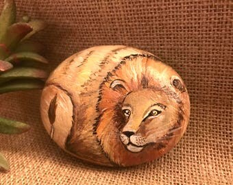 Hand Painted Lion Rock - Painted Lion Stone