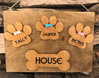 Personalised Dog pet kennel sign plaque
