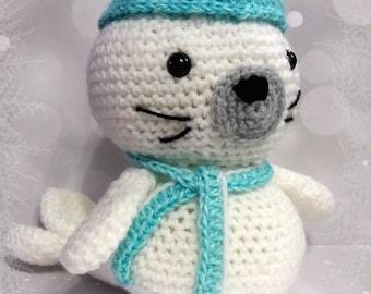 Stuffed crocheted amigurumi seal
