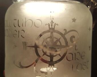 Glass etched hanging jar