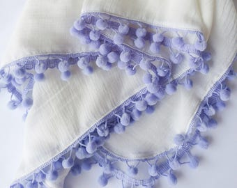 Off White w/lilac purple pompoms, single layer swaddle, muslin gauze
